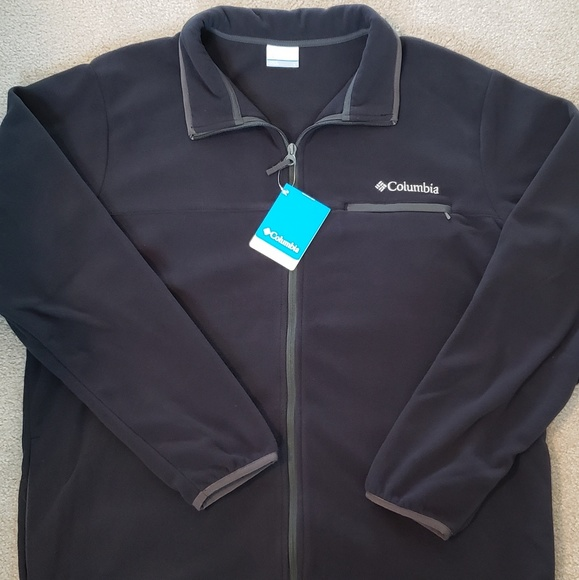 Columbia Men/'s Black Fleece Jacket Mountain Crest Full Zip L
